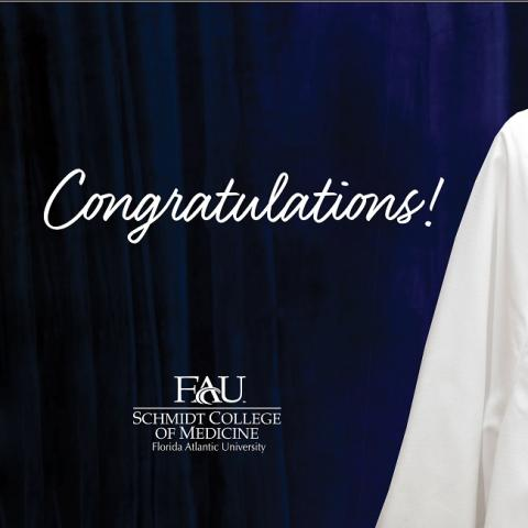 person wearing FAU school of medicine white coat